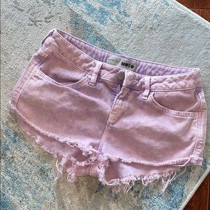 TOPSHOP Purple acid wash festival short shorts